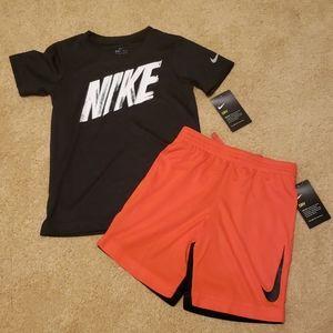 Nike boys short shirt set red black multi